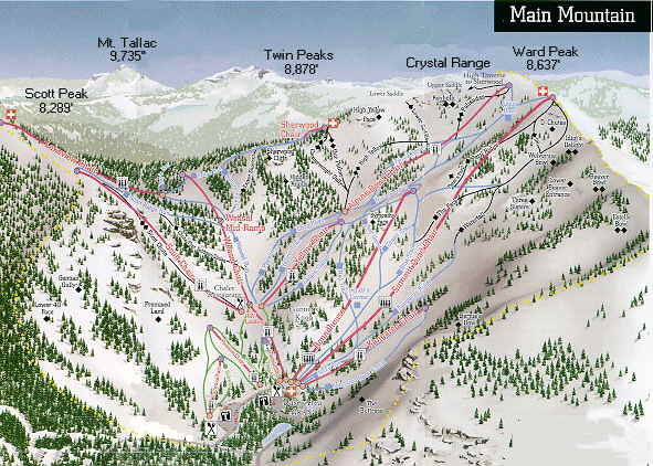 Alpine Meadows Lake Tahoe Ski Resort - Western us ski resorts map